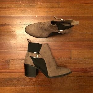 Black and gray/tan booties in size 9